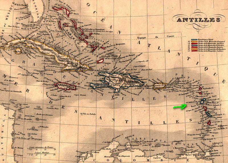 Les Antilles en 1843, www.kelibia.fr/histoirepostale